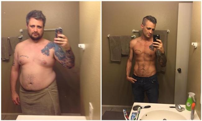 A híres fogyás előtt és utání - Férfi hasfutás fogyás előtt és után