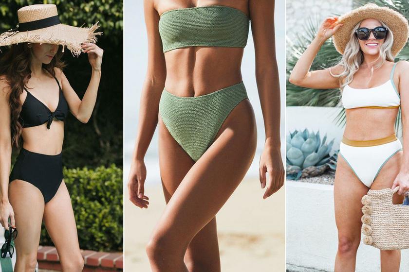 Női magas derékú bikini szett - 4 színben